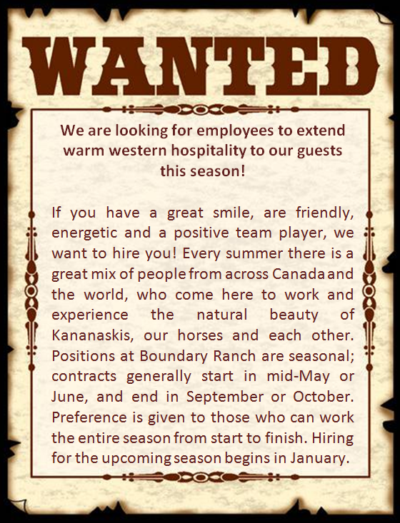 Wanted Poster for Employees