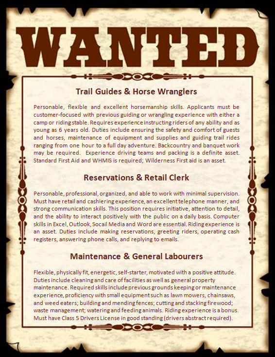 Wanted Poster for Guide and Wrangler Positions