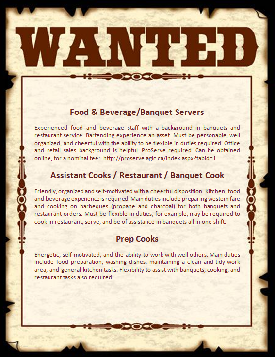 Wanted Poster for Cooks and Food and Beverage Positions