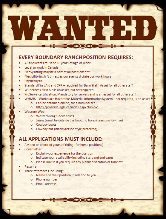 Wanted Poster for Ranch Positions